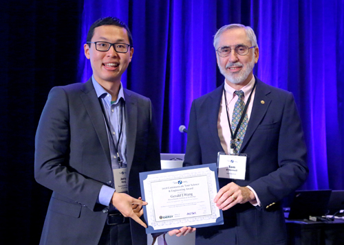 Krell's Thomas R. O'Donnell presented Gerald (Jerry) Wang with the 2018 CYSE Award.