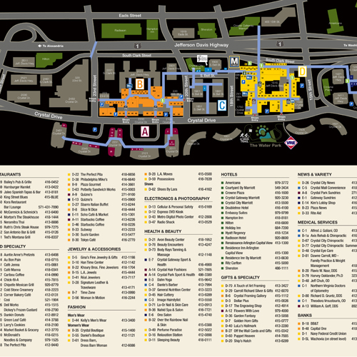 Crystal City Shops Directory & Map